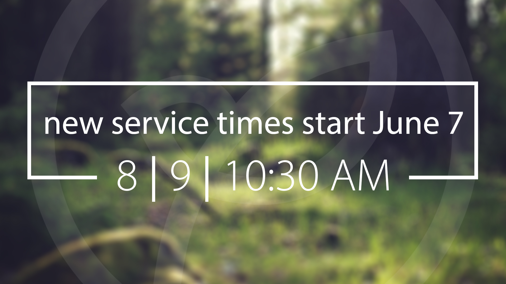 A Change in Sunday Service Times